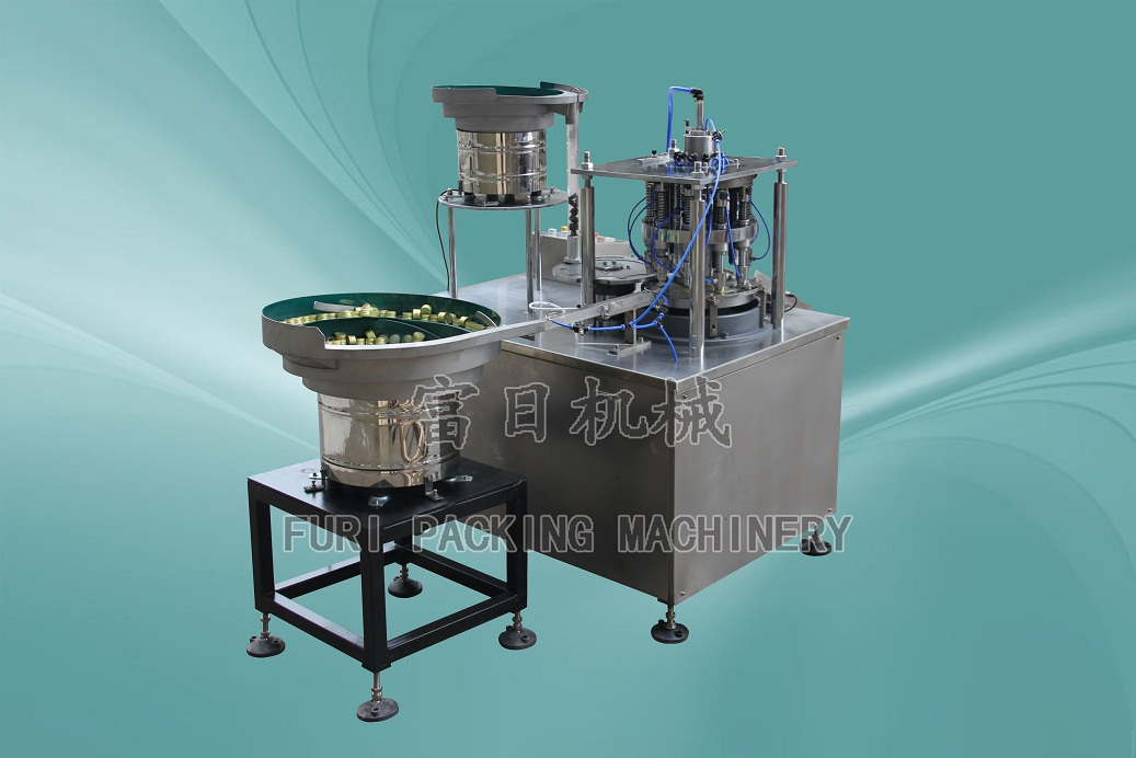 Automatic rubber and aluminum cap assembly machine