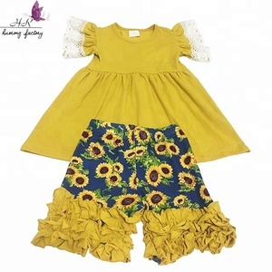 Fashion Organic Cotton dress and printed sunflower shorts set Import Kids children Clothing outfit