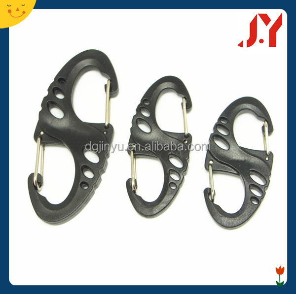Jinyu wholesale s carabiner, plastic carabiner hook, s shaped carabiner hook