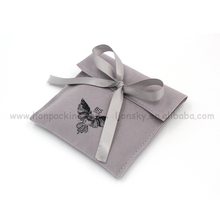 Top grade suede jewelry pouch with logo,flap suede bag with ribbon bow