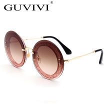 GUVIVI China sunglasses manufactory Sun glasses fashion eyewear Rimless Round Oversize Men sunglasses 2017