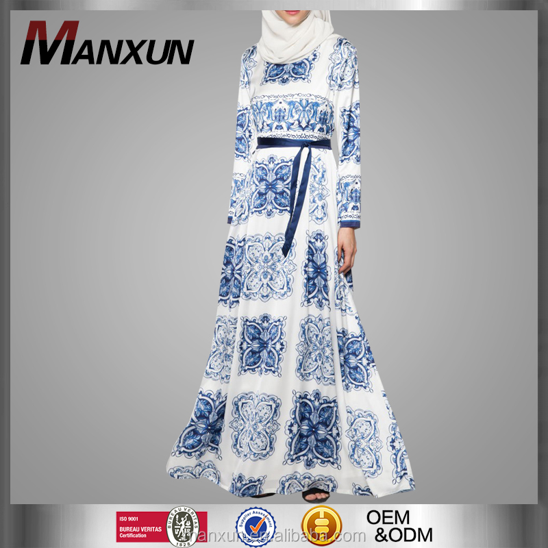 Latest Abaya Burka Collection Designs Hot Popular Full Printing Long Maxi Dress Floral Abaya