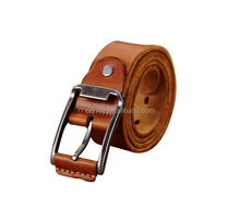 Factory sales Custom NEW genuine leather men brown steel buckle mens belts genuine leather