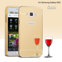 Luxury Aluminum Metal Bumper Frame Cell Phone Case with Mirror Cover for Samsung Galaxy ON5