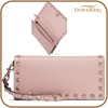 rfid blocking women leather wallet with rivets custom clutch wallet