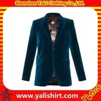 New arrival wholesale high quality navy blue long sleeve plain cheap velvet classic fitness blazers for men