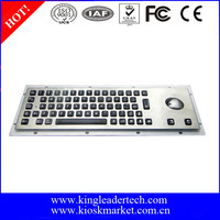 Industrial stainless steel rugged metal keyboard with light and trackball