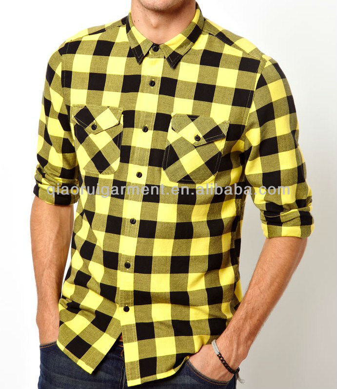 Mens Yellow Two Pockets Flannel Check Casual Shirt - Buy Men ...