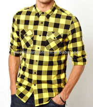 Mens yellow two pockets flannel check casual shirt