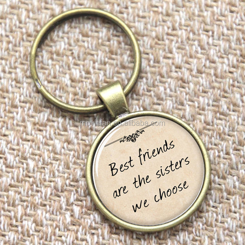 Gift for Girlfriend keyring Best friends are the sisters we choose keyring glass Photo Quote Jewelry keyring