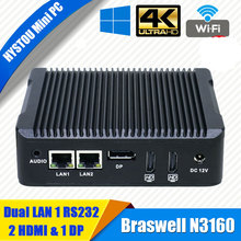 Fanless computer small size cpu n3160 mini pc 3 displays 2 hdmi 1 dp port with serial parall port 2lan