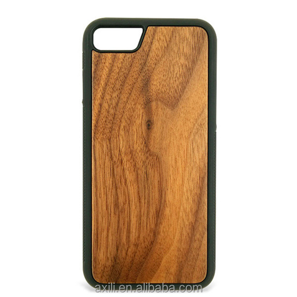 wood phone case with silicon bumper nature Blank Wood phone Case cover For iPhone7,wood case for iphone 7