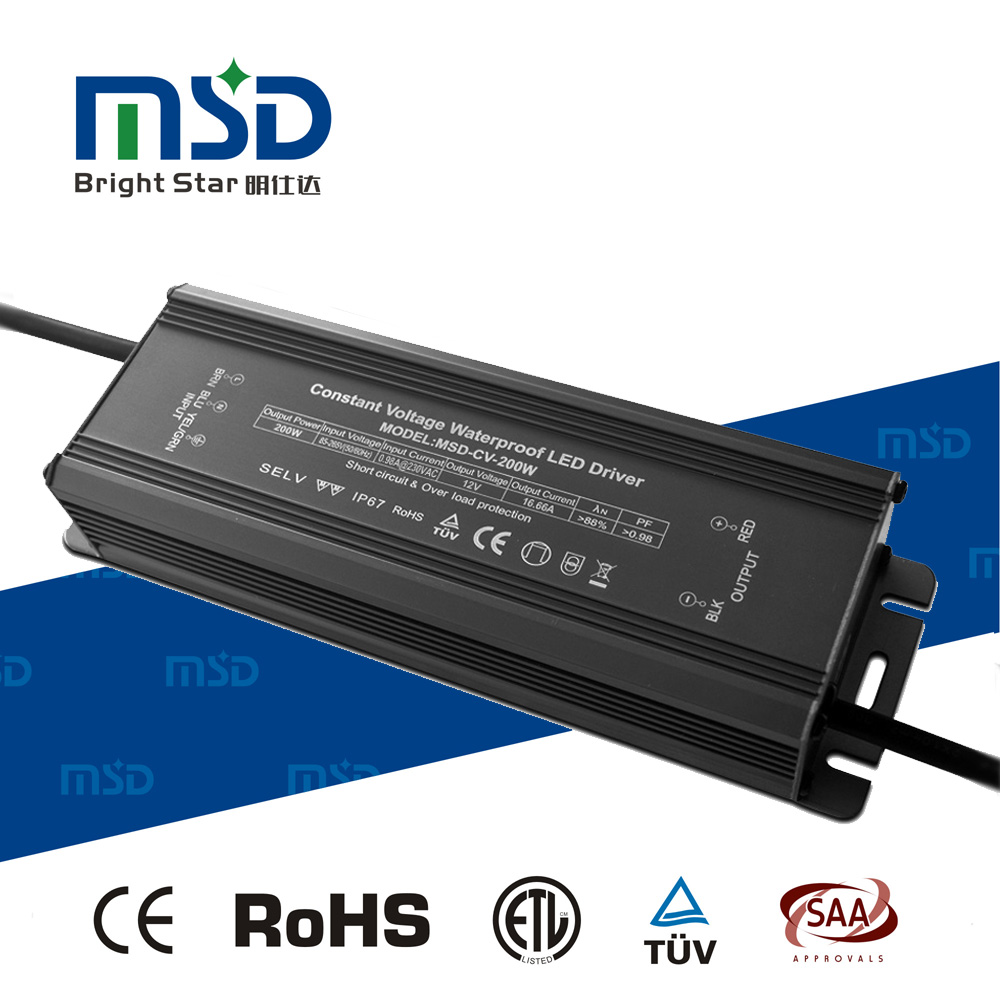 5 years warranty IP67 waterproof LED transformer 220V 12V 200W with PFC