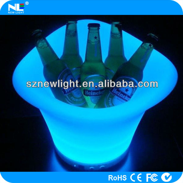 Color changing clear plastic LED illuminated beer bottle and fruit ice bucket