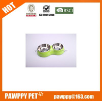 double melamine dog bowl with Stainless Steel inner dog bowl