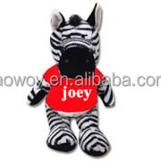 promotional custom imprinted plush stuffed zebra standing logo t-shirt animal toys641