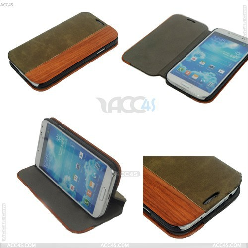 Wood + PU Protector Case Cover With Stand for SAMSUNG Galaxy S4/ i9500