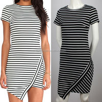 OEM spandex knitted ladies pakistani new style cutting stripe dress