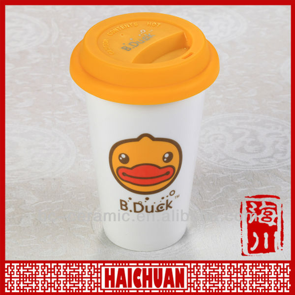 Double wall ceramic tumbler, mug with silicone lid