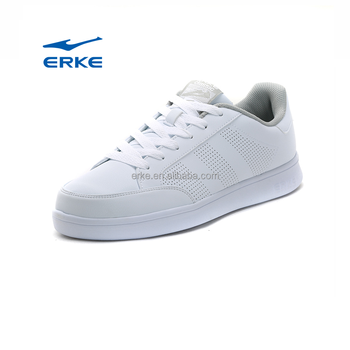 ERKE wholesale 2017 hot sell blank casual plain white PU skateboard shoes mens