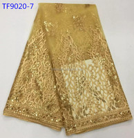 Gold color sequence lace mesh tulle laces fabric new French lace designs