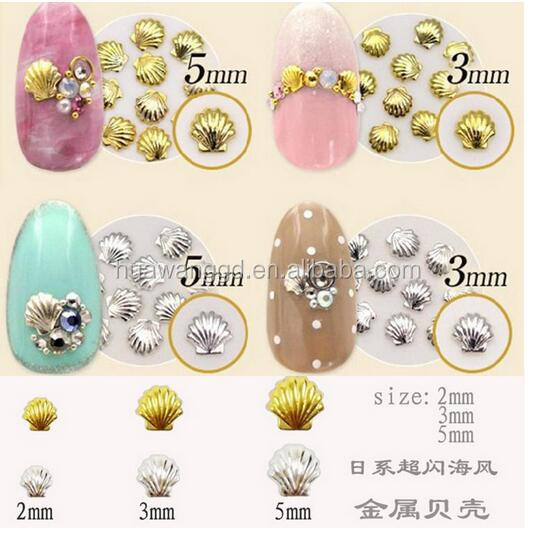 3 D nail stick,frech metal shell toe nail stickers wholesale