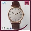 New Fashion Two hands leather wrist watch gold or silver plated watch for men and women