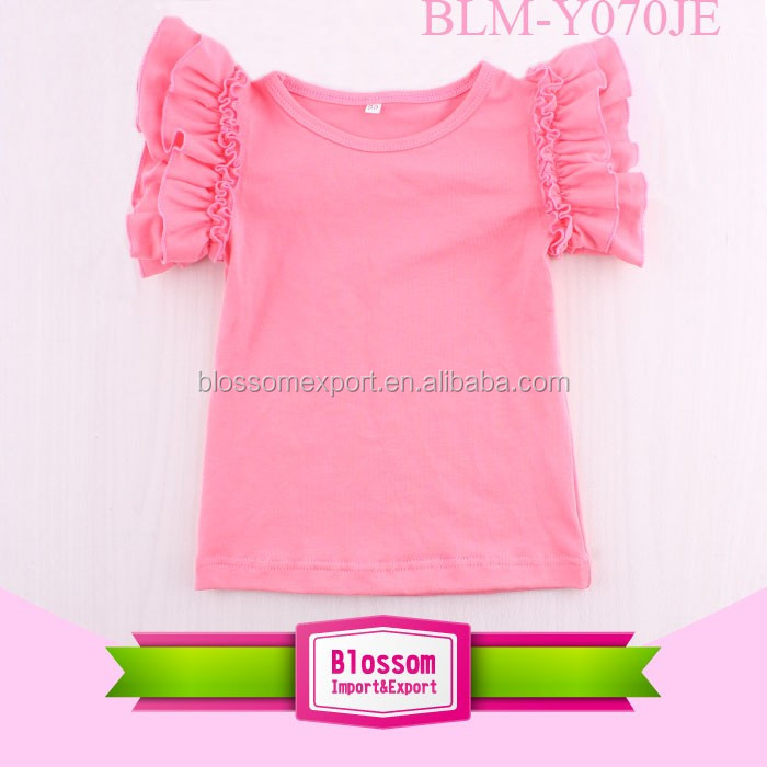 Hot pink middle sleeve summer t-shirt kids wear plain cotton ruffle raglan shirt