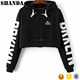 Hot Sale Girl Hoody Sweatshirt Black Print Cropped Top hoodie Ladies