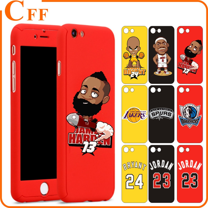 360 PC Case for iPhone 6 6s 7plus Michael Jordan 23 Full Body cover for iphone7 case Kobe Bryant 24 with Tempered Glass