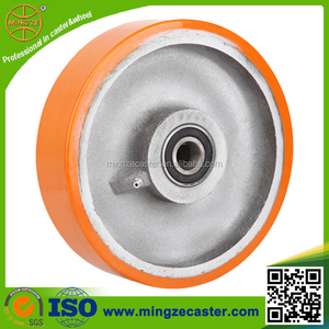 Industrial Polyurethane cast iron 200mm heavy duty trolley wheels