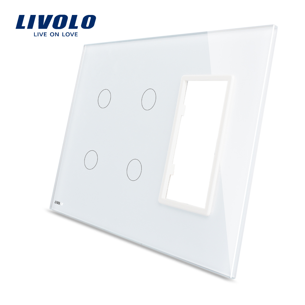 Livolo White 170mm*125mm US standard Triple Glazed Glass Panel For Sale For Wall Touch Switch Socket VL-C5-C2/C2/SR-11