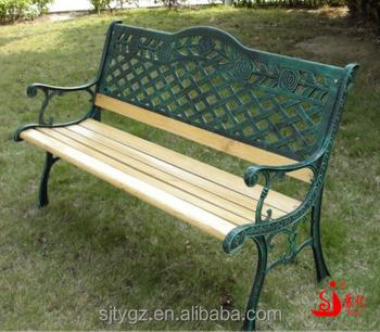 Dark Green Wood Slats Cast Iron Garden Bench From Guangzhou Suji