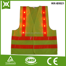custome 16 flashing red led reflective safety vest