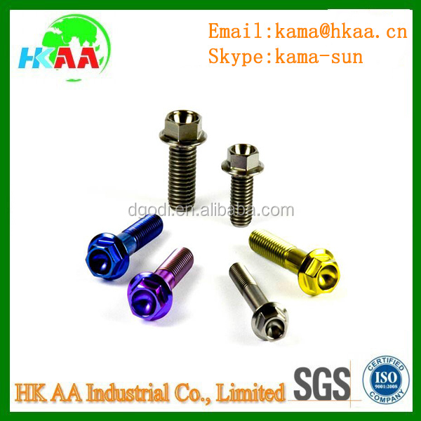 TS16949 passed titanium countersunk bolts color customized flange bolts