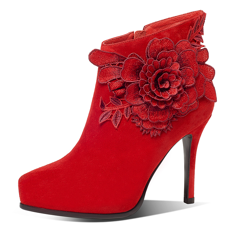 2018 new fashion high heel red embroidery sheepskin women shoes ankle boots