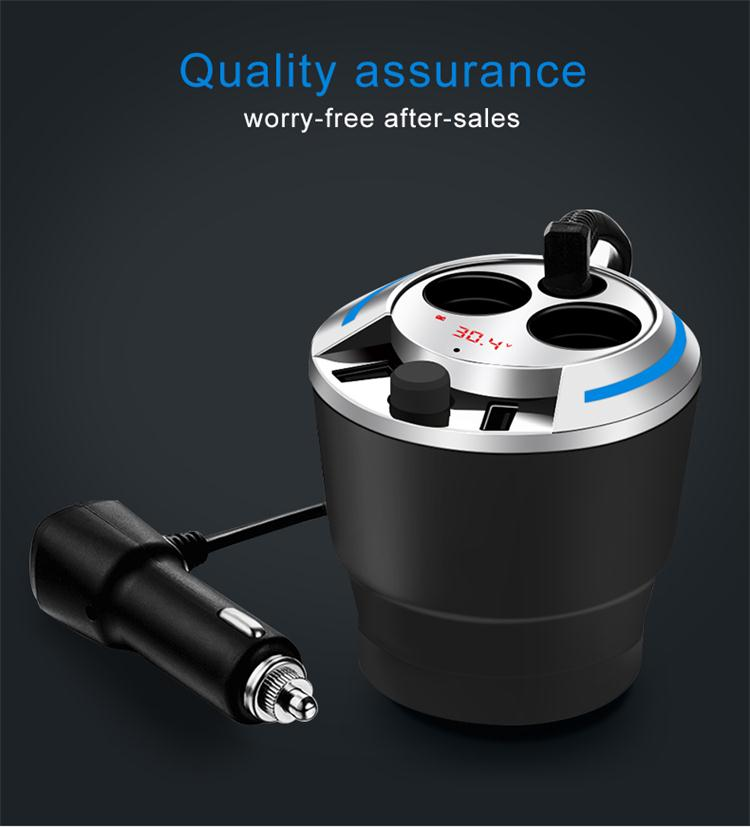 GXYKIT G35 Black Cup Shape 5V 3.1A Dual USB Bluetooth Car Charger With Power On Button And 2 Cigarette Lighter Holes