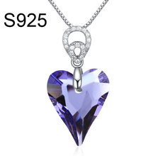 Free shipping Made With Crystal from Swarovski heart charm necklace jewelry <strong>silver</strong>