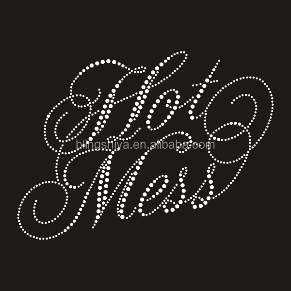 Wholesale Rhinestone Transfer Hot Mess Letters Garments Accessories