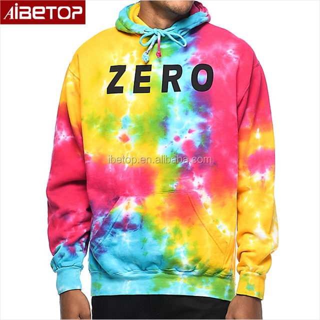 Cheap tech fleece hip hop tie dye hoodie,hoodie with different colored sleeves