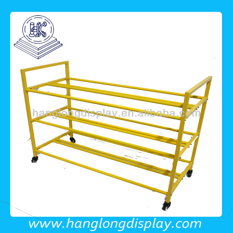 Sport good store metal tube shelf basketball display stand