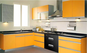 High glossy orange color lacquer G handle 18mm mdf door whole kitchen cabinet set