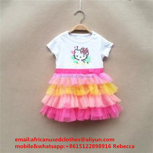 used clothing/ fashion secondhand clothing, stylish used clothing, Children cotton dress color mixed in tanzania