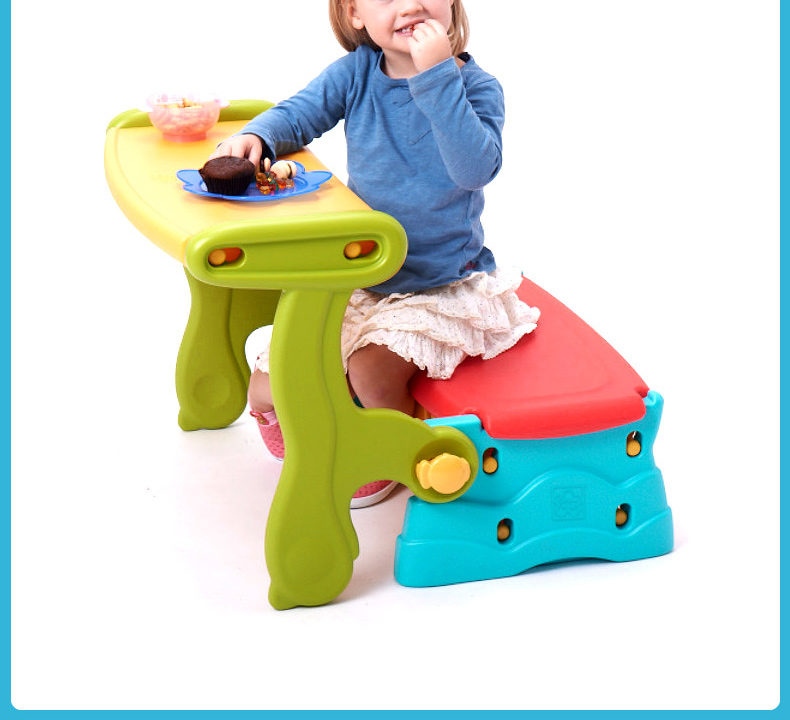 3 in 1 bench table storage trans chair multifunctional game table for children
