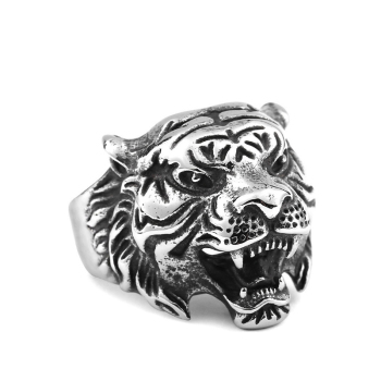 Exaggerated domineering tiger head Ring Men's hipster animal classic vintage ring