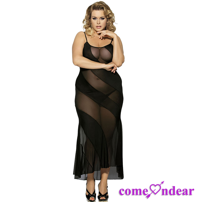 In Stock Accept OEM Sexy Night Transparent Dress Black Evening Dress