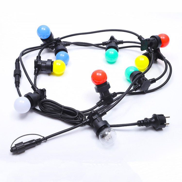 Outdoor Christmas Halloween Decoration Led Festival Lights E27 Rubber Cable Patio String E26 Led Belt Festoon Holiday Light 10m