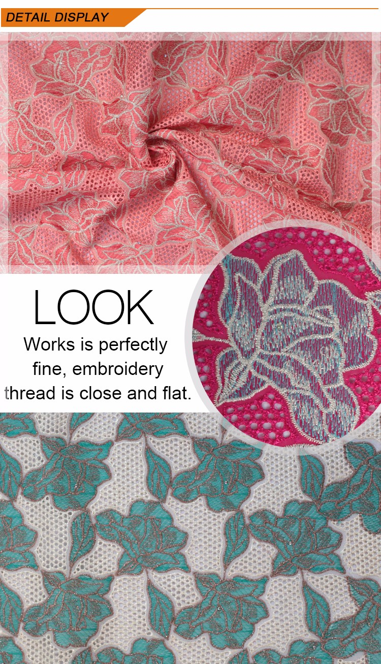 Heavy rose embroidery fabric voile lace in wine view