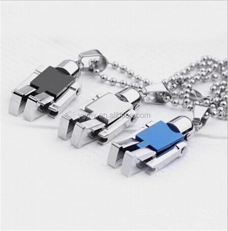 Stainless Steel Mini Rotatable Robot Pendants Necklace with Movable Arms & Legs