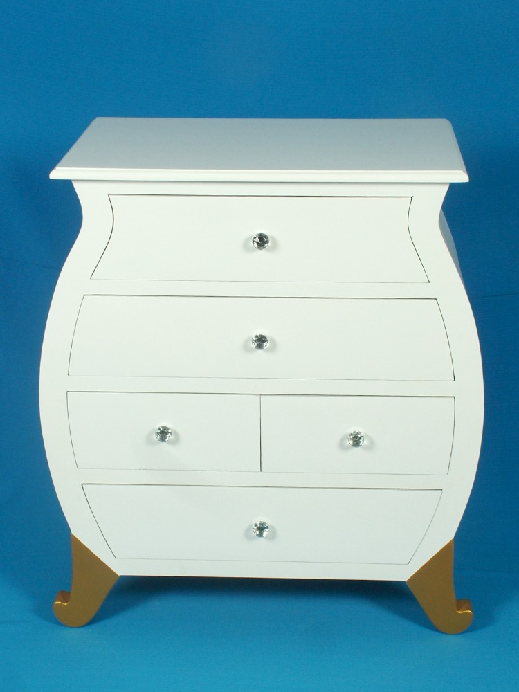 Modern style white cabinet with five drawers